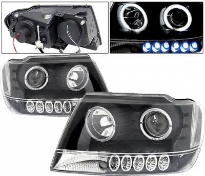 Headlights & Tail Lights - Headlights - 4 Car Option - Jeep Grand Cherokee 4 Car Option Dual Halo Projector Headlights - Black & Clear - LP-JGC99BC-KS