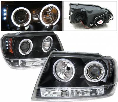 Headlights & Tail Lights - Headlights - 4 Car Option - Jeep Grand Cherokee 4 Car Option LED Dual Halo Projector Headlights - Black - LP-JGC99BC-YD
