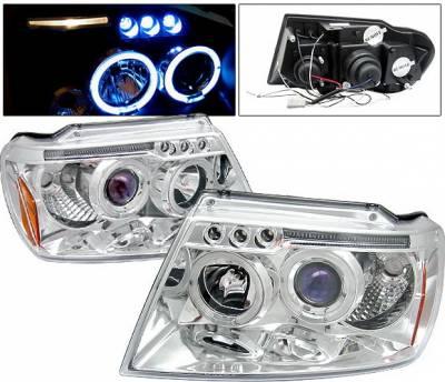 Headlights & Tail Lights - Headlights - 4 Car Option - Jeep Grand Cherokee 4 Car Option LED Dual Halo Projector Headlights - Chrome - LP-JGC99CB-5