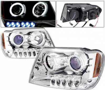 Headlights & Tail Lights - Headlights - 4 Car Option - Jeep Grand Cherokee 4 Car Option Dual Halo Projector Headlights - Chrome & Blue - LP-JGC99CB-KS