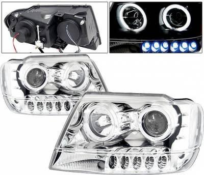 Headlights & Tail Lights - Headlights - 4 Car Option - Jeep Grand Cherokee 4 Car Option Dual Halo Projector Headlights - Chrome & Clear - LP-JGC99CC-KS