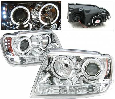 Headlights & Tail Lights - Headlights - 4 Car Option - Jeep Grand Cherokee 4 Car Option LED Dual Halo Projector Headlights - Chrome - LP-JGC99CC-YD