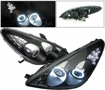 Headlights & Tail Lights - Headlights - 4 Car Option - Lexus ES 4 Car Option CCFL Halo Projector Headlights - Black - LP-LES30005BF-KS