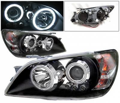 Headlights & Tail Lights - Headlights - 4 Car Option - Lexus IS 4 Car Option Halo Projector Headlights - Black CCFL - LP-LIS300BB-KS