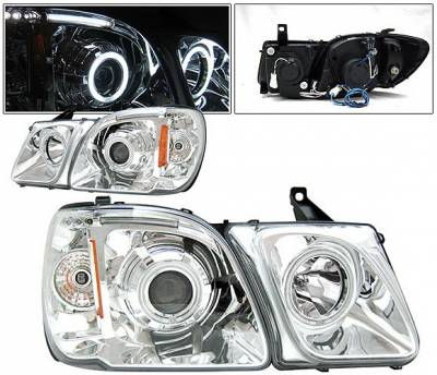 Headlights & Tail Lights - Headlights - 4 Car Option - Lexus LX 4 Car Option Halo Projector Headlights - Chrome CCFL - LP-LLX470CB-KS