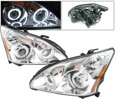 Headlights & Tail Lights - Headlights - 4 Car Option - Lexus RX 4 Car Option Halo Projector Headlights - Chrome CCFL - LP-LRX330CF-KS
