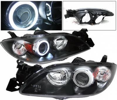 Headlights & Tail Lights - Headlights - 4 Car Option - Mazda 3 4DR 4 Car Option Halo Projector Headlights - Black CCFL - LP-M304BB-KS