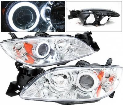 Headlights & Tail Lights - Headlights - 4 Car Option - Mazda 3 4DR 4 Car Option Halo Projector Headlights - Chrome CCFL - LP-M304CB-KS