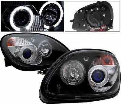 Headlights & Tail Lights - Headlights - 4 Car Option - Mercedes-Benz SLK 4 Car Option Halo Projector Headlights - Black - LP-MBSLK98BC-YD