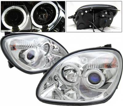 Headlights & Tail Lights - Headlights - 4 Car Option - Mercedes-Benz SLK 4 Car Option Halo Projector Headlights - Chrome - LP-MBSLK98CC-YD