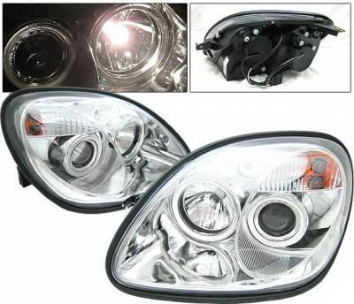 Headlights & Tail Lights - Headlights - 4 Car Option - Mercedes-Benz SLK 4 Car Option Projector Headlights - Chrome - LP-MBSLK98CC-YD-NR
