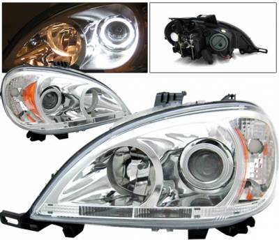 Headlights & Tail Lights - Headlights - 4 Car Option - Mercedes-Benz ML 4 Car Option Halo Projector Headlights - Chrome - LP-MBW16302G2CC-KS