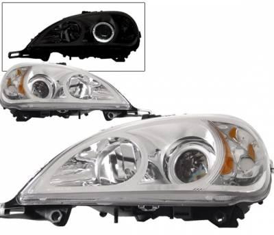 Headlights & Tail Lights - Headlights - 4 Car Option - Mercedes-Benz ML 4 Car Option Halo Projector Headlights - Chrome - LP-MBW163CR-KS-A