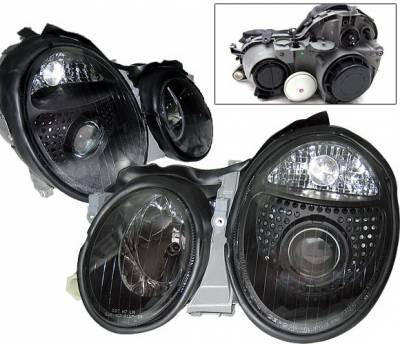 Headlights & Tail Lights - Headlights - 4 Car Option - Mercedes-Benz CLK 4 Car Option Projector Headlights - Black - LP-MBW208B-DP