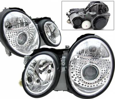 Headlights & Tail Lights - Headlights - 4 Car Option - Mercedes-Benz CLK 4 Car Option Projector Headlights - Chrome - LP-MBW208C-DP