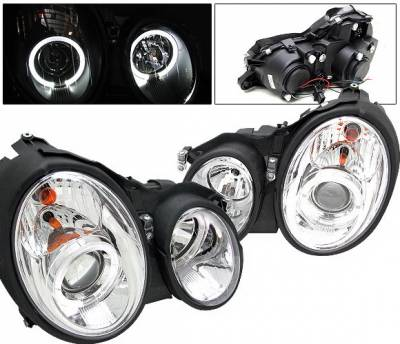 Headlights & Tail Lights - Headlights - 4 Car Option - Mercedes-Benz CLK 4 Car Option Halo Projector Headlights - Chrome - LP-MBW208C-YD