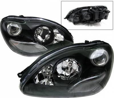 Headlights & Tail Lights - Headlights - 4 Car Option - Mercedes-Benz S Class 4 Car Option Halo Projector Headlights - Black - LP-MBW220BC-KS