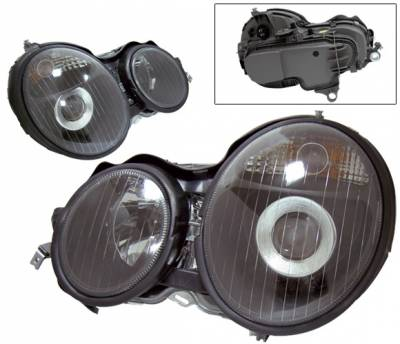 Headlights & Tail Lights - Headlights - 4 Car Option - Mercedes-Benz E Class 4 Car Option Projector Headlights - Black - LP-MBZE95BC-KS