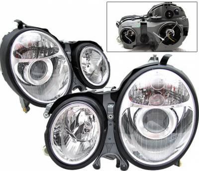 Headlights & Tail Lights - Headlights - 4 Car Option - Mercedes-Benz E Class 4 Car Option Projector Headlights - Chrome - LP-MBZE95CC-DP
