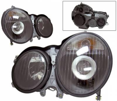 Headlights & Tail Lights - Headlights - 4 Car Option - Mercedes-Benz E Class 4 Car Option Projector Headlights - Black - LP-MBZE99BC-KS