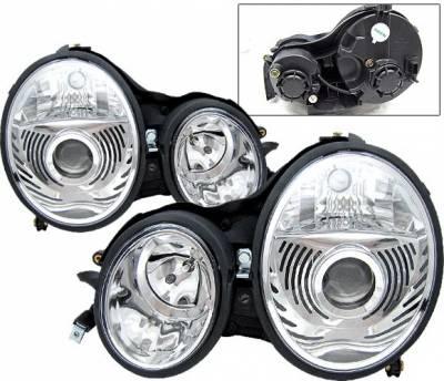 Headlights & Tail Lights - Headlights - 4 Car Option - Mercedes-Benz E Class 4 Car Option Projector Headlights - Chrome - LP-MBZE99CC-9