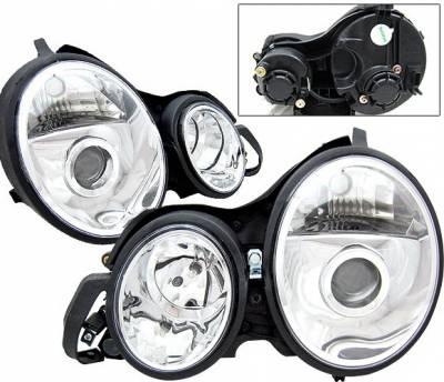 Headlights & Tail Lights - Headlights - 4 Car Option - Mercedes-Benz E Class 4 Car Option Projector Headlights - Chrome - LP-MBZE99CC-KS