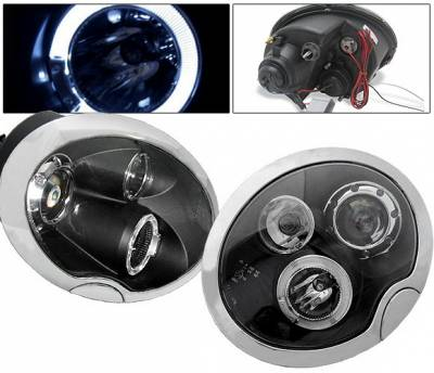 Headlights & Tail Lights - Headlights - 4 Car Option - Mini Cooper 4 Car Option Halo Projector Headlights - Black - LP-MCOP02BB-5