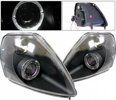 Headlights & Tail Lights - Headlights - 4 Car Option - Mitsubishi Eclipse 4 Car Option Halo Projector Headlights - Black - LP-ME00BB-KS