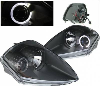 Headlights & Tail Lights - Headlights - 4 Car Option - Mitsubishi Eclipse 4 Car Option Halo Projector Headlights - Black - LP-ME00BB-YD