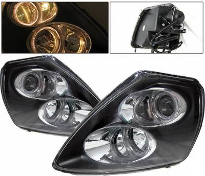 Headlights & Tail Lights - Headlights - 4 Car Option - Mitsubishi Eclipse 4 Car Option Halo Projector Headlights - Black - LP-ME00BC-9