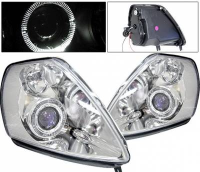 Headlights & Tail Lights - Headlights - 4 Car Option - Mitsubishi Eclipse 4 Car Option Halo Projector Headlights - Chrome - LP-ME00CB-KS