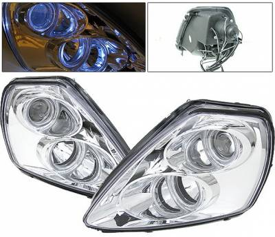 Headlights & Tail Lights - Headlights - 4 Car Option - Mitsubishi Eclipse 4 Car Option Halo Projector Headlights - Chrome - LP-ME00CC-9