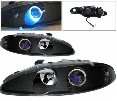 Headlights & Tail Lights - Headlights - 4 Car Option - Mitsubishi Eclipse 4 Car Option Halo Projector Headlights - Black - LP-ME95HBB-KS