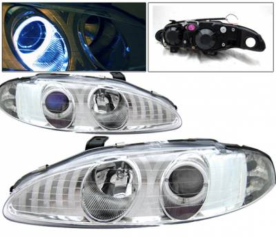 Headlights & Tail Lights - Headlights - 4 Car Option - Mitsubishi Eclipse 4 Car Option Halo Projector Headlights - Chrome - LP-ME95HCB-KS