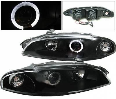 Headlights & Tail Lights - Headlights - 4 Car Option - Mitsubishi Eclipse 4 Car Option Halo Projector Headlights - Black - LP-ME97BB-YD