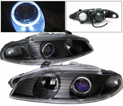 Headlights & Tail Lights - Headlights - 4 Car Option - Mitsubishi Eclipse 4 Car Option Halo Projector Headlights - Black - LP-ME97HBB-KS