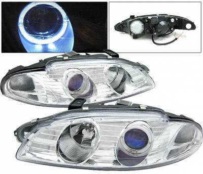 Headlights & Tail Lights - Headlights - 4 Car Option - Mitsubishi Eclipse 4 Car Option Halo Projector Headlights - Chrome - LP-ME97HCB-KS