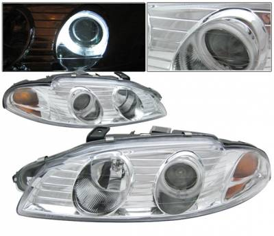 Headlights & Tail Lights - Headlights - 4 Car Option - Mitsubishi Eclipse 4 Car Option Halo Projector Headlights - Chrome CCFL - LP-ME97HCB-KS-CCFL