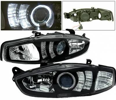 Headlights & Tail Lights - Headlights - 4 Car Option - Mitsubishi Mirage 4 Car Option Halo Projector Headlights - Black - LP-MM97BB-5