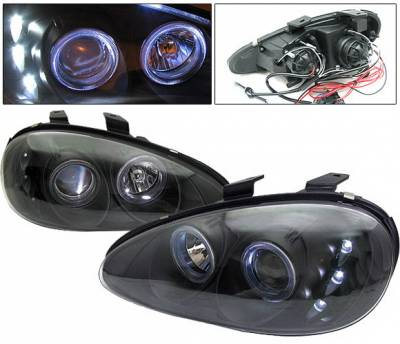 Headlights & Tail Lights - Headlights - 4 Car Option - Mazda MX3 4 Car Option Halo Projector Headlights - Black - LP-MMX3B-9