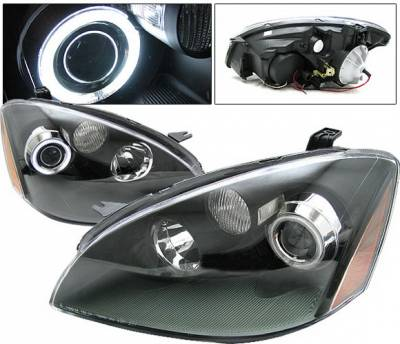 Headlights & Tail Lights - Headlights - 4 Car Option - Nissan Altima 4 Car Option Halo Projector Headlights - Black CCFL - LP-NA02BC-KS