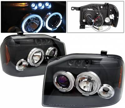 Headlights & Tail Lights - Headlights - 4 Car Option - Nissan Frontier 4 Car Option LED Dual Halo Projector Headlights - Black - LP-NF01BB-5