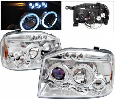 Headlights & Tail Lights - Headlights - 4 Car Option - Nissan Frontier 4 Car Option LED Dual Halo Projector Headlights - Chrome - LP-NF01CB-5