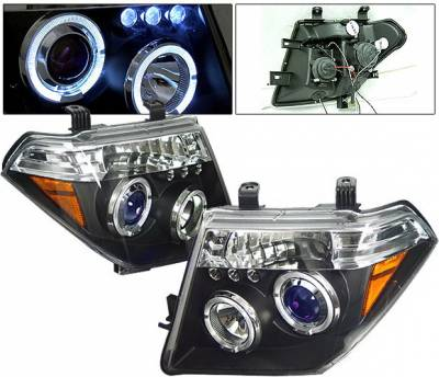 Headlights & Tail Lights - Headlights - 4 Car Option - Nissan Frontier 4 Car Option LED Dual Halo Projector Headlights - Black - LP-NF05BB-5