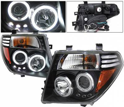 Headlights & Tail Lights - Headlights - 4 Car Option - Nissan Frontier 4 Car Option LED Halo Projector Headlights - Black CCFL - LP-NF05BB-KS