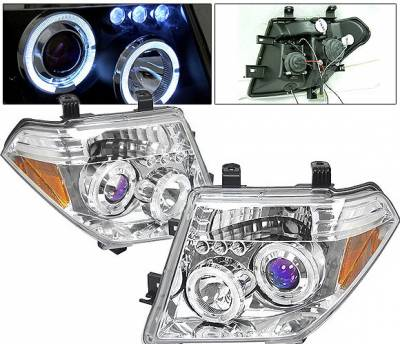 Headlights & Tail Lights - Headlights - 4 Car Option - Nissan Frontier 4 Car Option LED Dual Halo Projector Headlights - Chrome - LP-NF05CB-5
