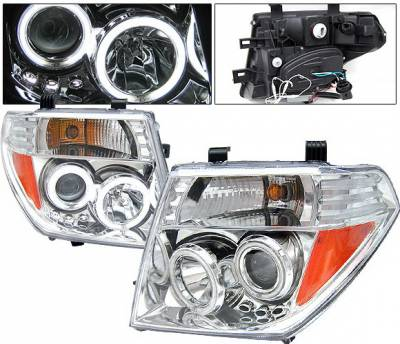 Headlights & Tail Lights - Headlights - 4 Car Option - Nissan Frontier 4 Car Option LED Halo Projector Headlights - Chrome CCFL - LP-NF05CB-KS