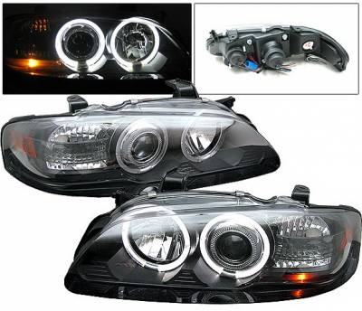 Headlights & Tail Lights - Headlights - 4 Car Option - Nissan Sentra 4 Car Option Halo Projector Headlights Black - LP-NS00BC-YD