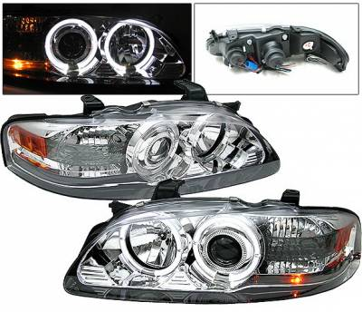 Headlights & Tail Lights - Headlights - 4 Car Option - Nissan Sentra 4 Car Option Halo Projector Headlights Chrome - LP-NS00CC-YD