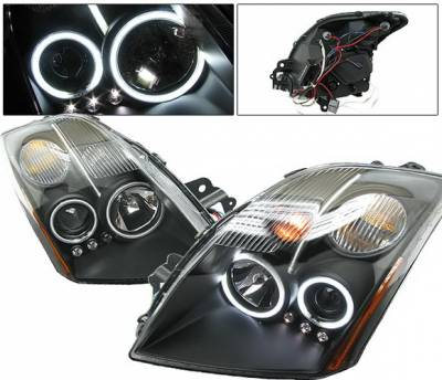 Headlights & Tail Lights - Headlights - 4 Car Option - Nissan Sentra 4 Car Option CCFL Halo Projector Headlights - Black - LP-NS07BF-KS